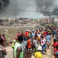 Scene from the Abule Ado gas pipeline explosion in Lagos on Sunday, March 15, 2020. | Twitter