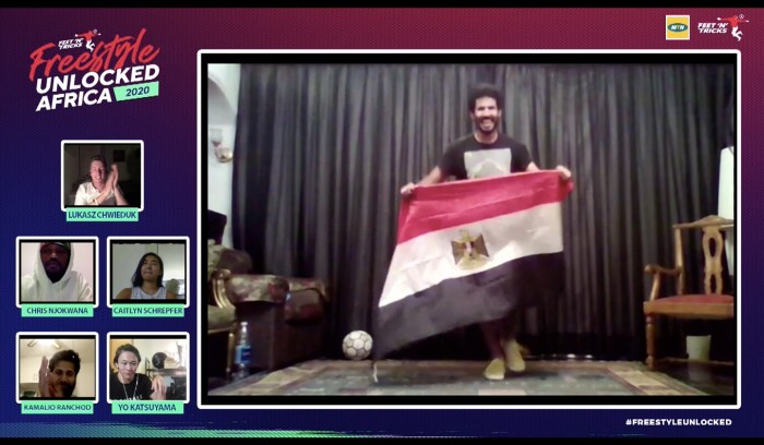 Egypt's Mohannad Hosam Ali celebrates his victory at the Men's finals of the African Freestyle Football Championships Sunday Aug 2, 2020 | Screengrab from YouTube