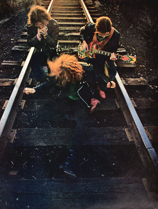 Second of two Art Kane portraits of Cream on a railroad track in the U.S, part of his Life Magazine piece The New Rock from 1968.