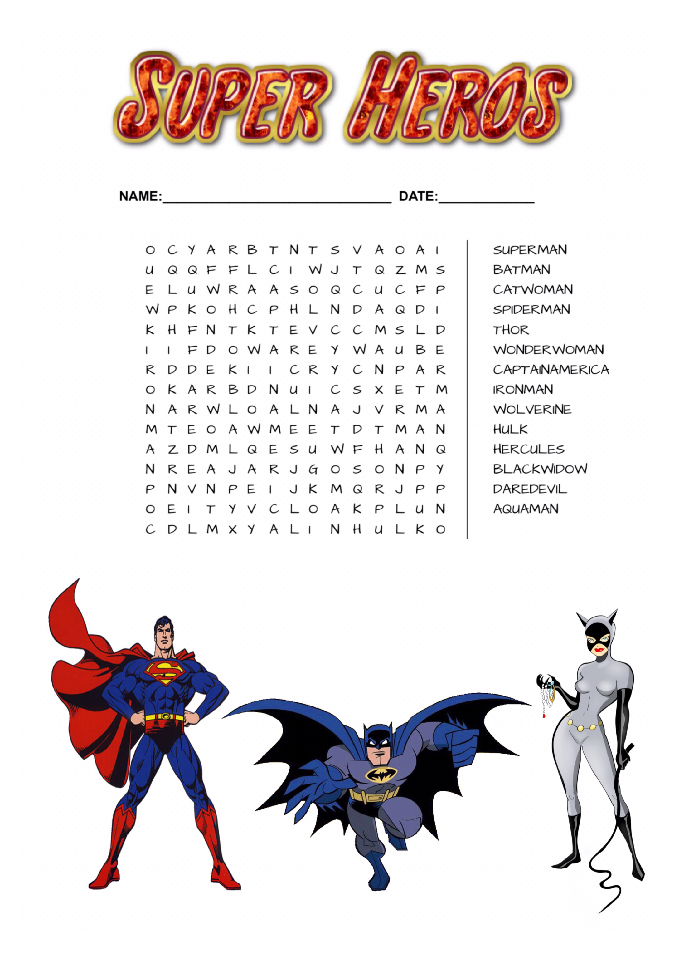 Super Heros Word Search Free Download