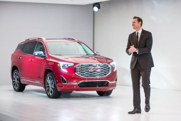 GMC Vice President Global Sales and Marketing Duncan Aldred introduces the 2018 Terrain and Terrain Denali Sunday, January 8, 2017, on the eve of the North American International Auto Show in Detroit, Michigan. The compact SUV's shape was refined in the wind tunnel to ensure its new profile cuts through the air with optimal efficiency and quietness. The Terrain is available with three new turbocharged propulsion systems, including a new 1.6L turbo-diesel. The 2018 Terrain will go on sale this summer. (Photo by John F. Martin for GMC)