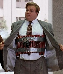 "Tommy Boy demonstrates the latest sales incentive technique. The ultimate win or go ""home""."
