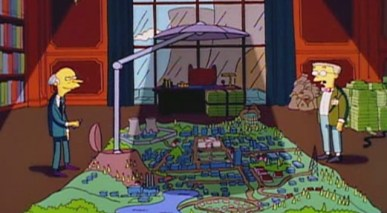I loved the episode when Mr. Burns built the giant sun blocker and started charging the town for access to the sun. Greatness. Is that life imitating art or art imitating life?