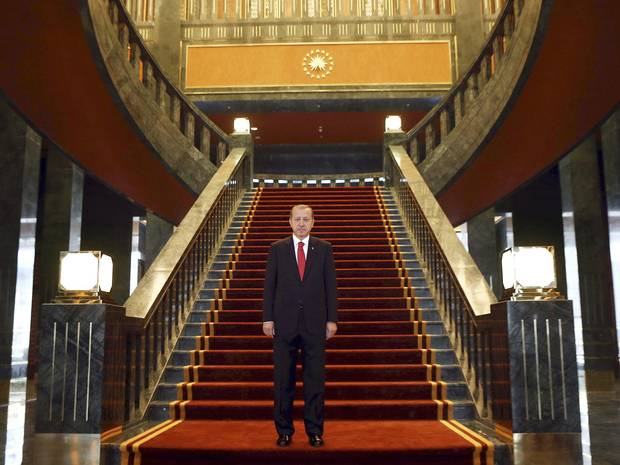 President Erdogan in his recently completed presidential palace. Click to enlarge