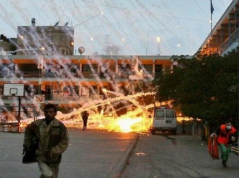 White phosphorus shells explode in Gaza.