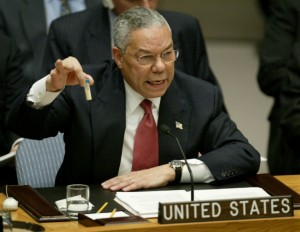 Remember this? Colin Powell holds up a vial allegedly containing Iraqi anthrax at the UN General Assembly. Click to enlarge