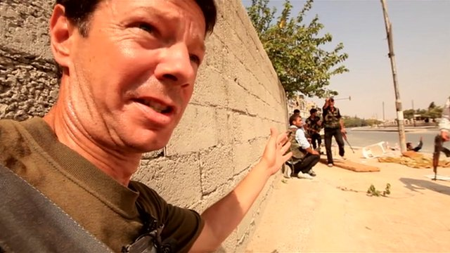 BBC reporter Ian Pannell in Aleppo, allegedly trapped by the fighting there. Click to enlarge