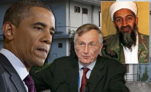 Obama, Seymour Hersh  and bin Laden (inset). Click to enlarge