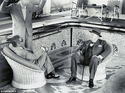Churchill in the late fifties with Greek tycoon Aristotle Onassis