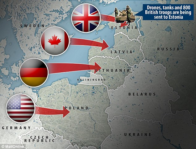 France, Denmark, Italy and other allies are expected to join the four battle groups led by the United States, Germany, Britain and Canada to go to Poland, Lithuania, Estonia and Latvia, with forces ranging from armoured infantry to drones. Click to enlarge
