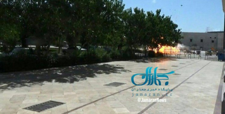Picture of explosion at Iranian parliament shown on Iranian TV. Click to enlarge
