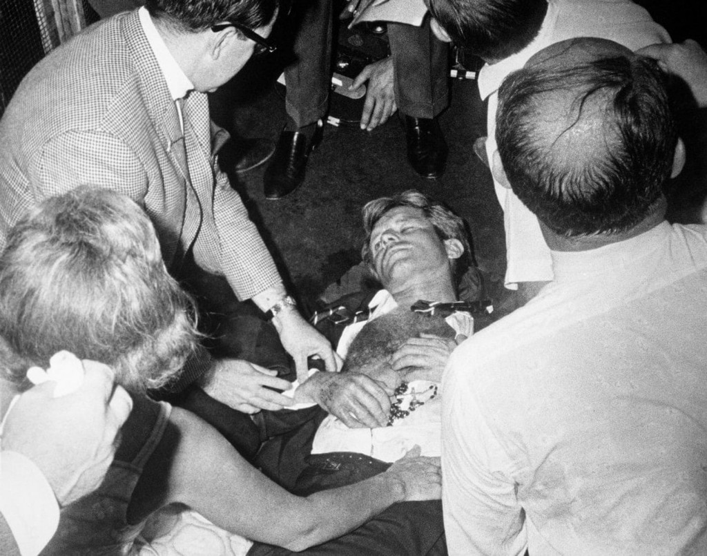Robert F Kennedy lies wounded on the floor of the Ambassador Hotel in Los Angeles on June 5, 1968. Click to enlarge
