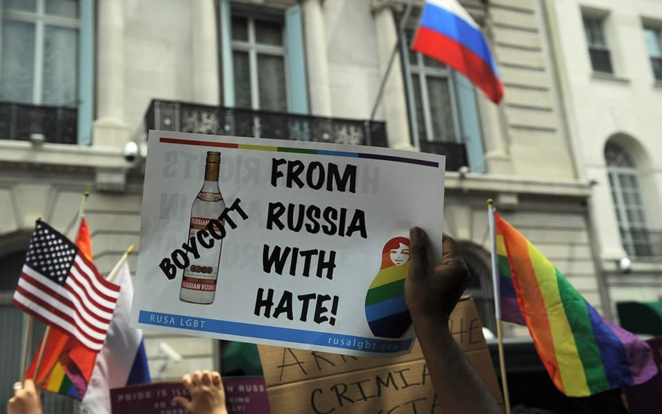 "Protest outside the Russian Embassy in New York in 2014 over what was seen as Moscow's ""anti-gay"" legislation. Click to enlarge"