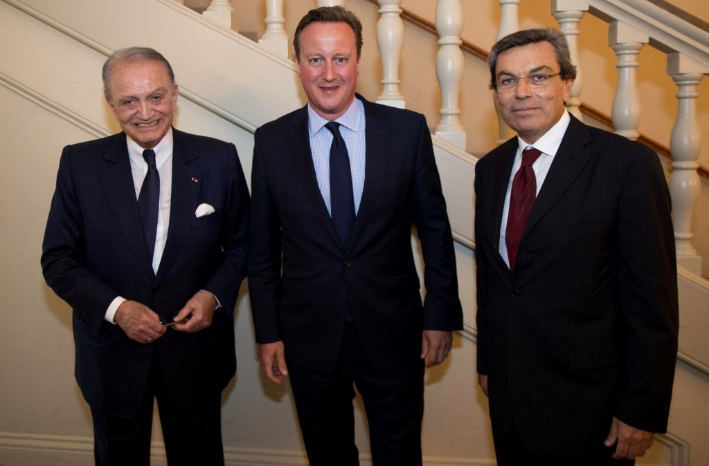 British MP Wafic Saïd left, former Prime Minister David Cameron, center, and Ayman Asfari, right. Photo | Saïd Foundation