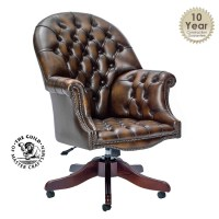 Leather : Director Swivel Chair in Antique Brown Leather