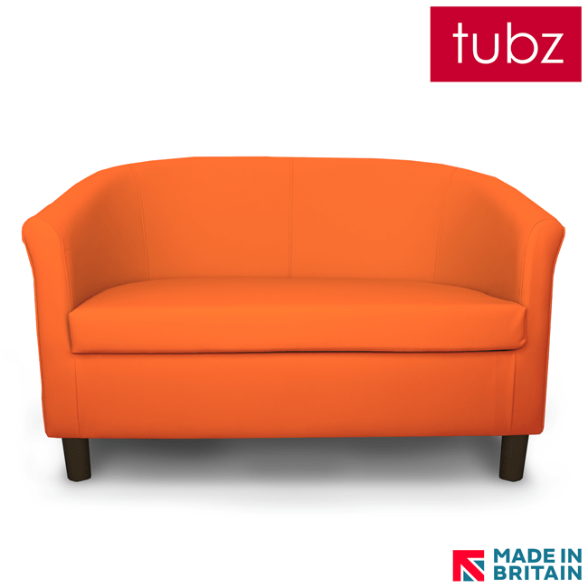 brown leather tub chair with footstool 6 dining chairs contract : tuscany 2 seater sofa in orange ct-dor faux