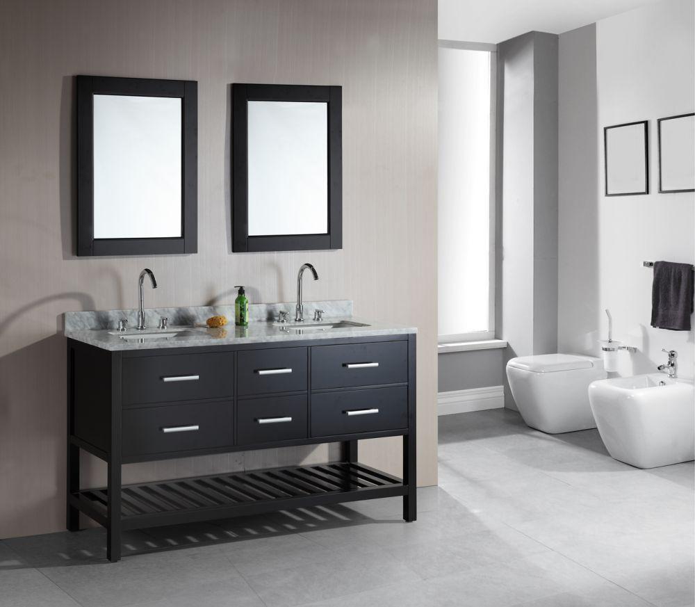 61 Espresso Finish Open Bottom Double Sink Vanity Set Dec077c London