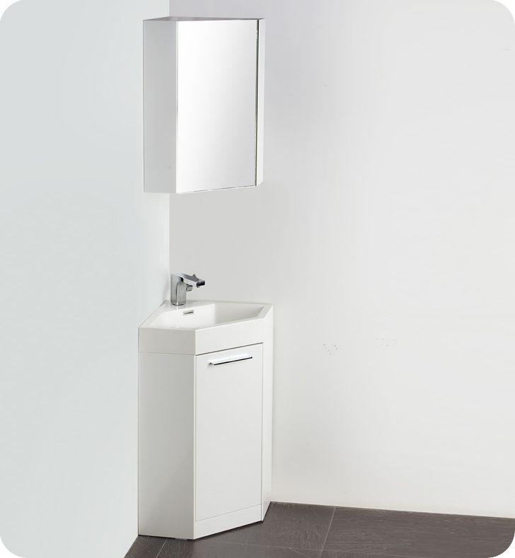 18 inch corner bathroom vanity in white w optional medicine cabinet fvn5084wh coda
