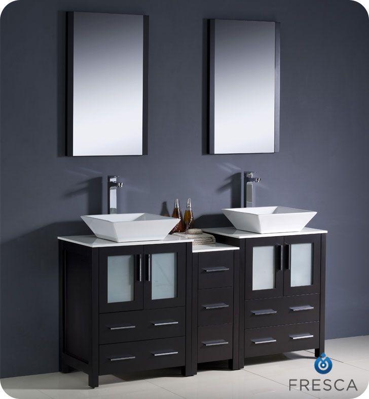 72 Double Vanity Side Cabinet Vessel Sink Torino Fvn62 301230es Vsl