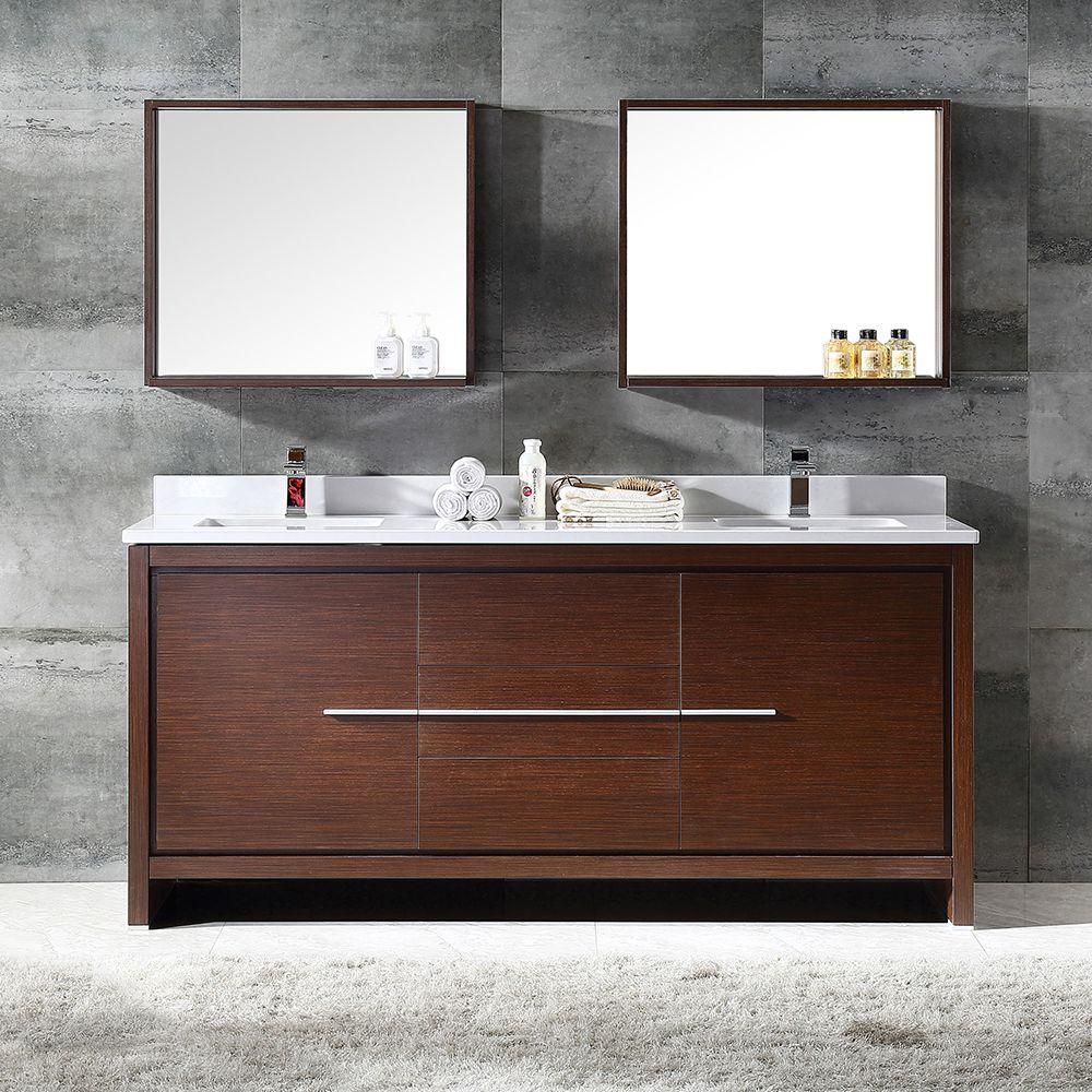 Fresca Allier 72 Wenge Brown Modern Double Sink Bathroom Vanity W Mirror