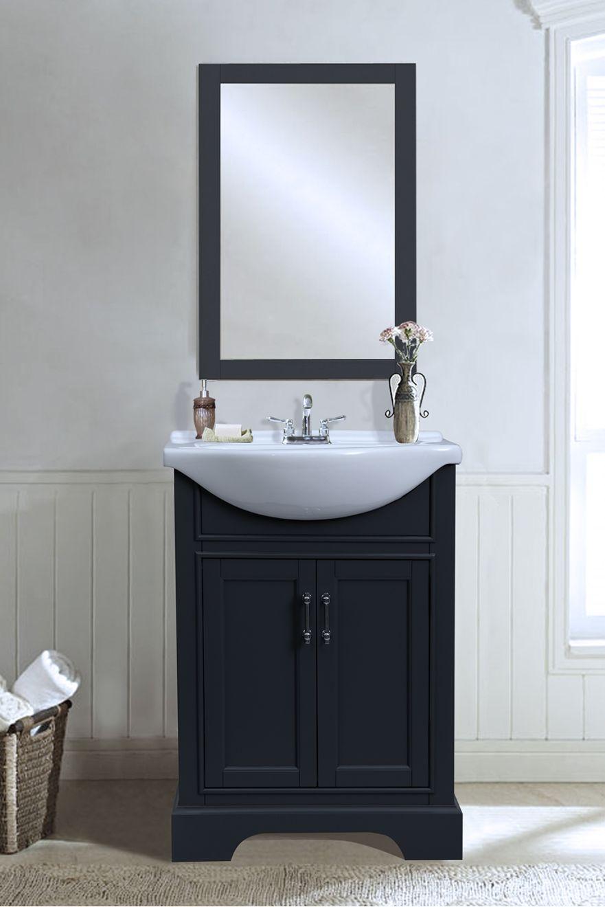 24 inch dark grey vanity w apron basin sink wlf6046
