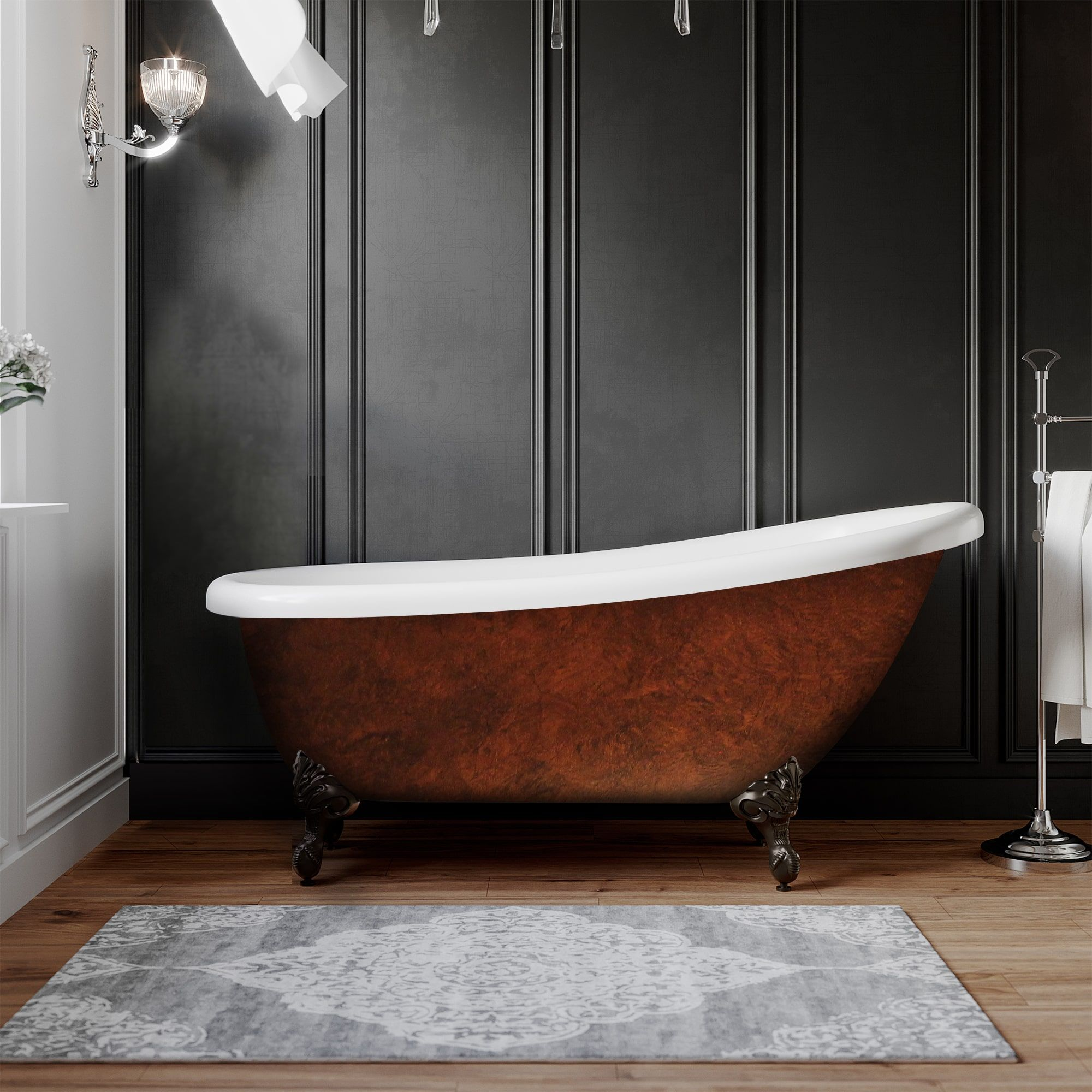 61 inch acrylic clawfoot slipper painted tub copper bronze maries