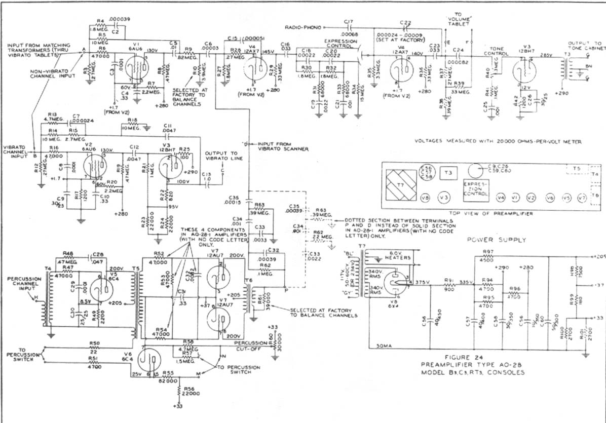 100 Pair Wiring Diagram Schematic Hammond B3 C3 Ao 28 Value Package