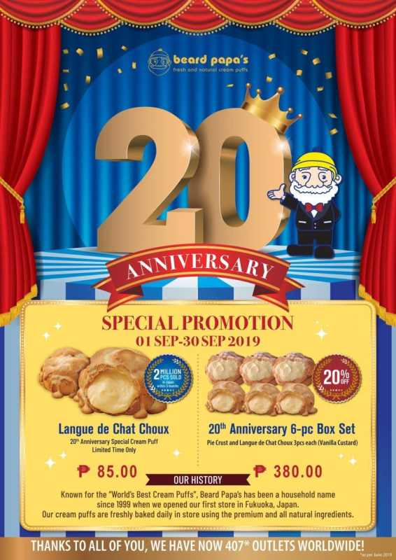beard papa's 20th anniversary