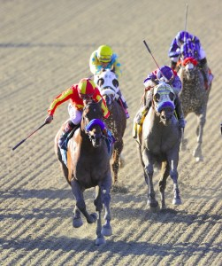 Private Zone (striped blinkers and red noseband) couldn't keep pace up with the fast pace in the 2013 Breeders' Cup Sprint