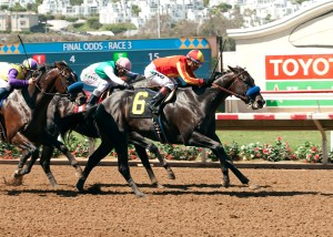 Gimme Da Lute and jockey Martin Garcia, right, outleg Fame and Power (Rafael Bejarano), inside, and Desert Dynamo (Flavien Prat), left, to win the $100,000 El Cajon Stakes, Saturday, August 29, 2015 at Del Mar Thoroughbred Club, Del Mar CA. © BENOIT PHOTO