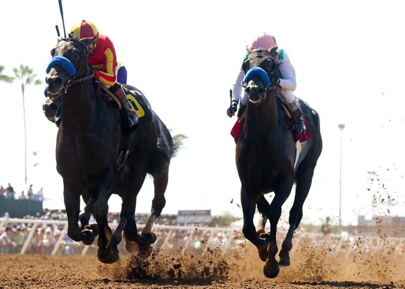 Gimme Da Lute and jockey Martin Garcia, left, outleg Fame and Power (Rafael Bejarano), right, to win the 0,000 El Cajon Stakes, Saturday, August 29, 2015 at Del Mar Thoroughbred Club, Del Mar CA. © BENOIT PHOTO