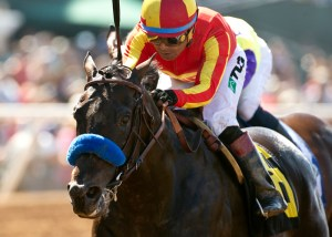 Gimme Da Lute and jockey Martin Garcia win the $100,000 El Cajon Stakes, Saturday, August 29, 2015 at Del Mar Thoroughbred Club, Del Mar CA. © BENOIT PHOTO