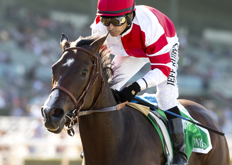 Songbird scoring a decisive victory in the Chandelier Stakes (gr. I) at Santa Anita - © BENOIT PHOTO