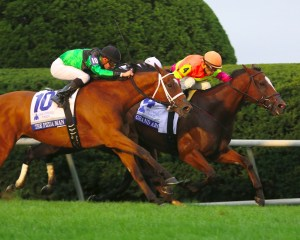 Grand Arch holding off The Pizza Man to win the Shadwell Turf Mile (gr. I) at Keeneland - Keeneland Photo