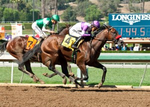 Nyquist edges Swipe to win the FrontRunner Stakes (gr. I) at Santa Anita - © BENOIT PHOTO