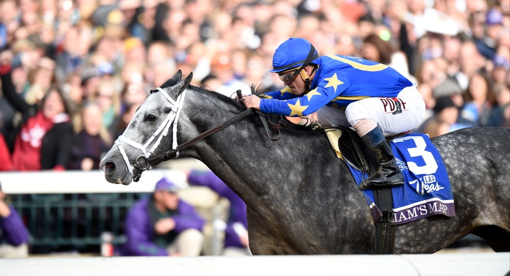 Liam's Map winning the Breeders' Cup Dirt Mile (gr. I) at Keeneland - Breeders' Cup Photo (c)