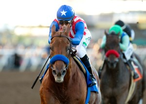 Dortmund cruising to an easy win in the 2015 Native Diver Stakes (gr. III) at Del Mar - © BENOIT PHOTO