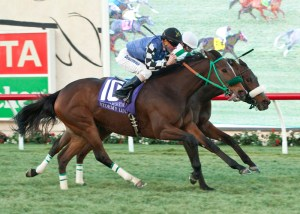 Stormy Lucy (outside) catches Recepta in the final strides to win the Matriarch Stakes (gr. I) at Del Mar - © Benoit Photo