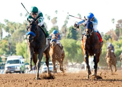 Mor Spirit defeating Uncle Lino in the Robert B. Lewis Stakes (gr. III) at Santa Anita - Benoit Photo