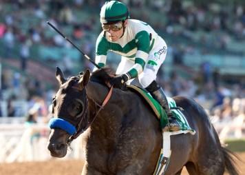 Mor Spirit winning the Robert B. Lewis Stakes (gr. III) at Santa Anita - Benoit Photo