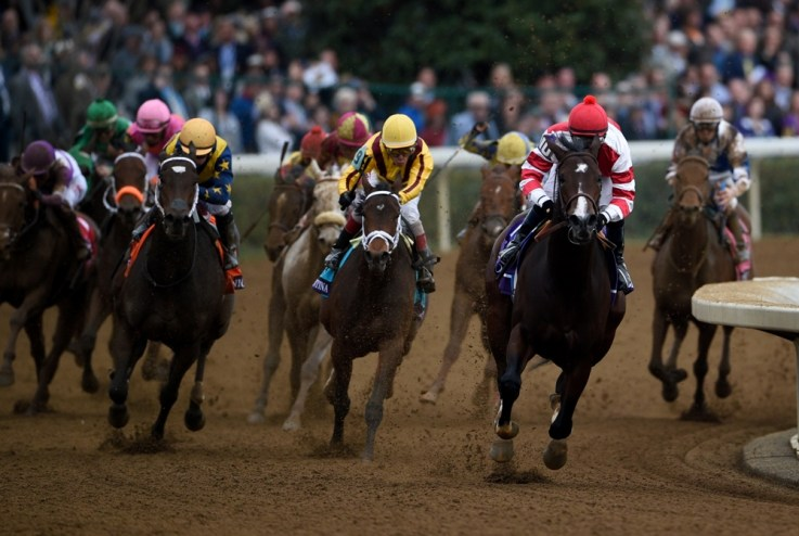 Songbird defeating Rachel's Valentina in the 2015 Breeders' Cup Juvenile Fillies (gr. I) at Keeneland - Breeders' Cup Photo (c)