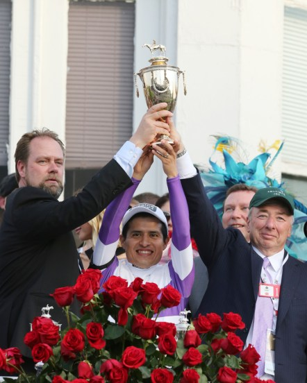 Doug O'Neill, Mario Gutierrez, and Paul Reddam celebrate Nyquist's victory in the Kentucky Derby - Coady Photography