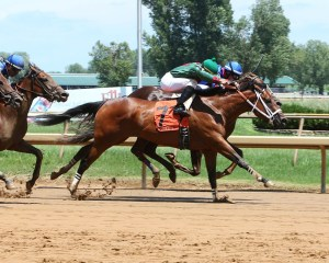 Runaway Betty winning a maiden race at Ellis Park on July 8th - Coady Photography