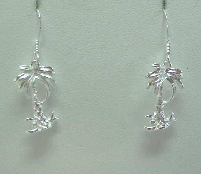 925 Sterling Silver Palm Tree Jewelry Pendants, Earrings