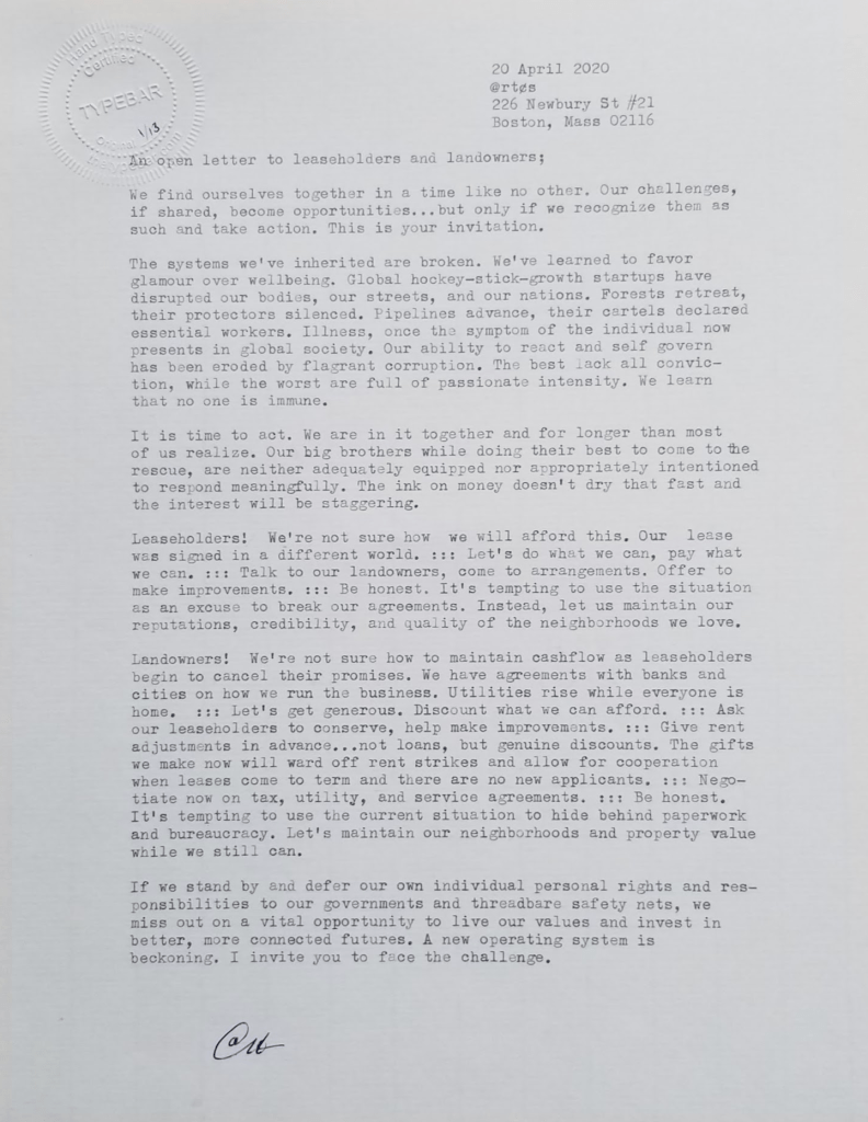 open hand-typed letter to leaseholders and landowners