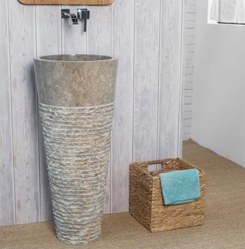 grey carved marble pedestal sink 90 x 40cm