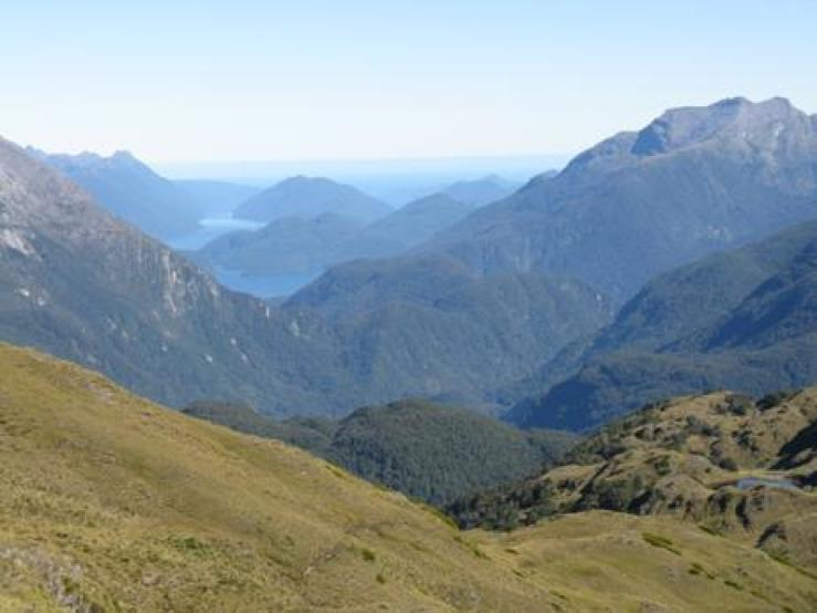 View from above Loch Marie looking down the Seaforth to Dusky Sound