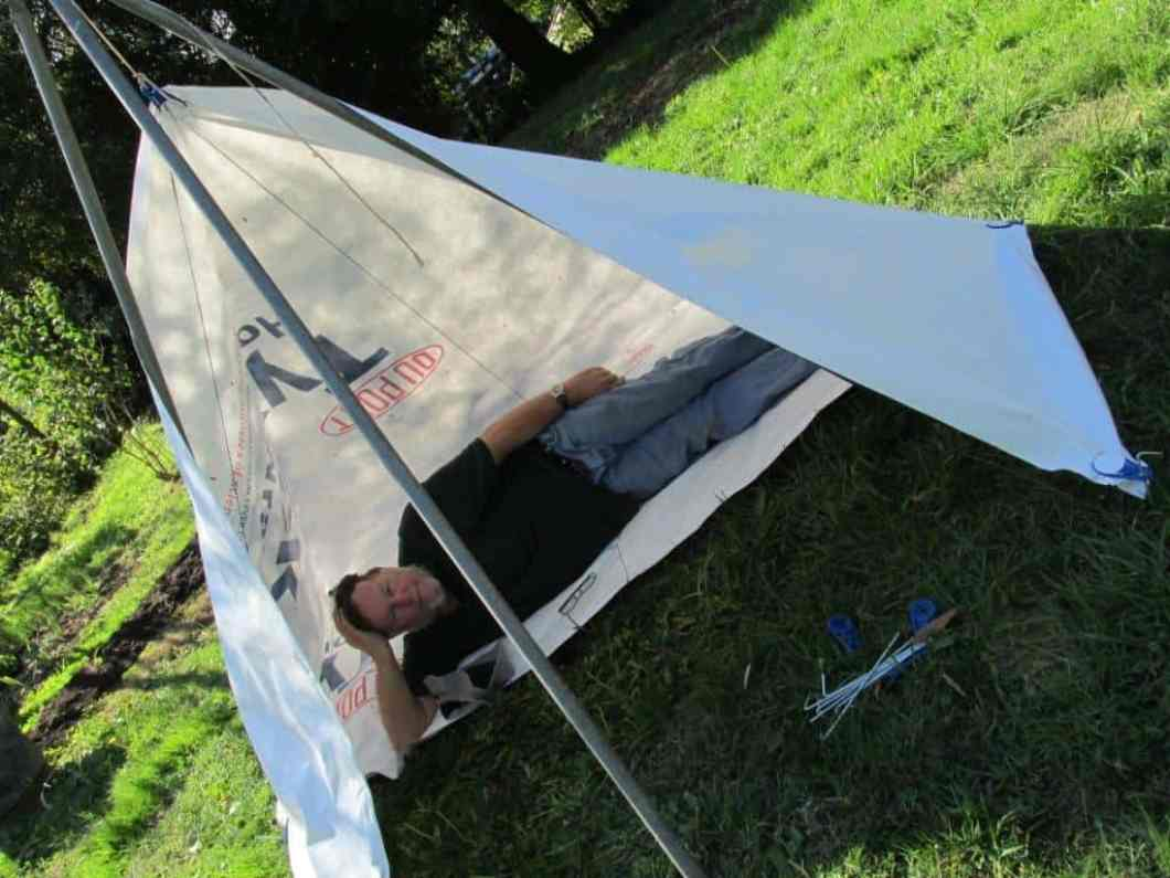 Prototype erected with tarp clips from Aussie Disposals.