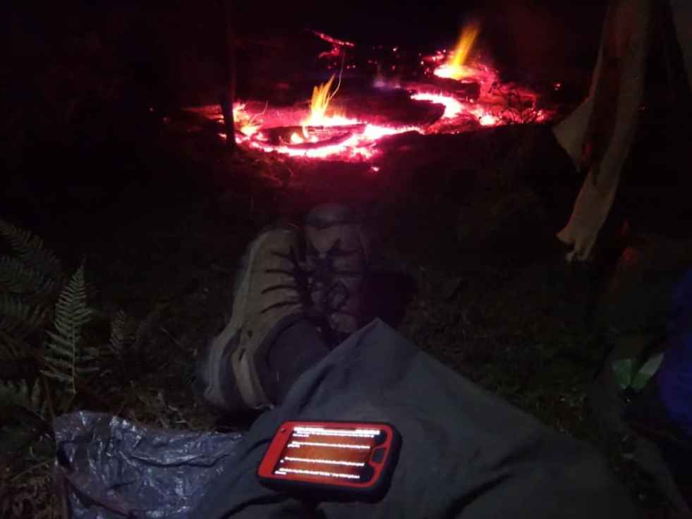 Lovely campfire, warm tent (shirtsleeves at approx 0C), music (Statler Bros), ebook (Idriess, 'Desert Column'), great company (Spot), the lonely dingo's call... Who could want for more?