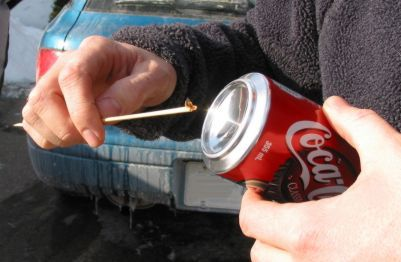 Fire from a Can of Coke and a Chocolate Bar:
